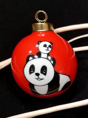 Boule de Noël «Duo de Pandas»