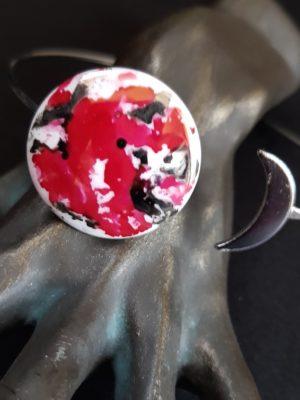 Bracelet Eclipse de Lune Framboise et Argent