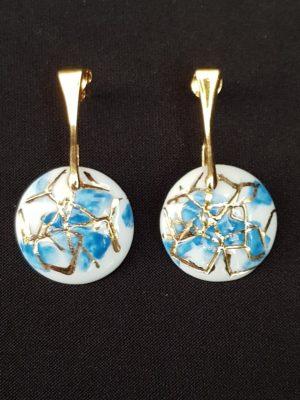 Paire de Boucles d'oreille «Diffraction» Bleue Océan